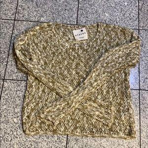 Kenzie acrylic beige/white knit sweater, L